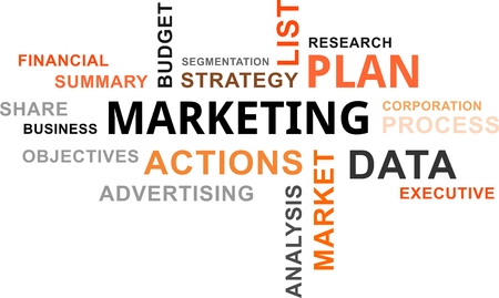 executive: A word cloud of marketing plan related items Illustration