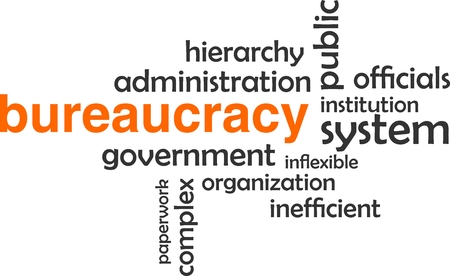 inflexible: A word cloud of bureaucracy related items Illustration