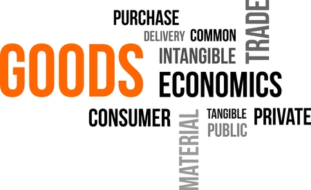 tangible: A word cloud of goods related items Illustration