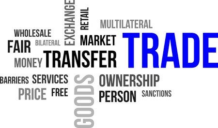 A word cloud of trade related items