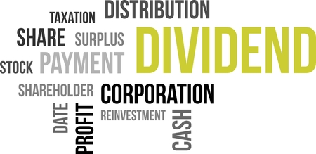 corporations: A word cloud of dividend related items Illustration