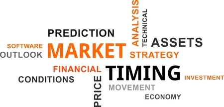timing: A word cloud of market timing related items Illustration