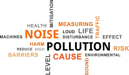 the noise: A word cloud of noise pollution related items Illustration