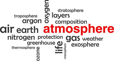 ozone layer: A word cloud of atmosphere related items Illustration