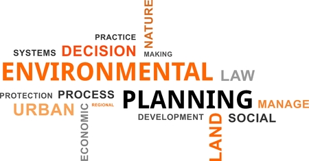 urban planning: A word cloud of environmental planning related items Illustration