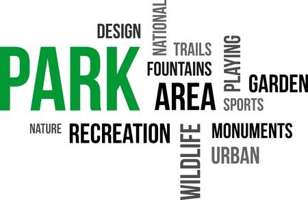 ricreazione: Una parola nuvola di elementi correlati parco
