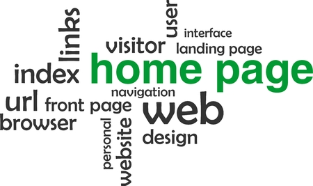 word cloud: A word cloud of home page related items Illustration