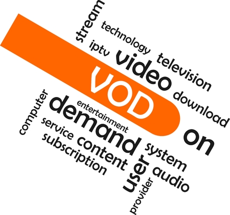 iptv: A word cloud of video on demand related items Illustration