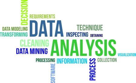 Eine Wortwolke der Datenanalyse im Zusammenhang mit Artikel Vektorgrafik