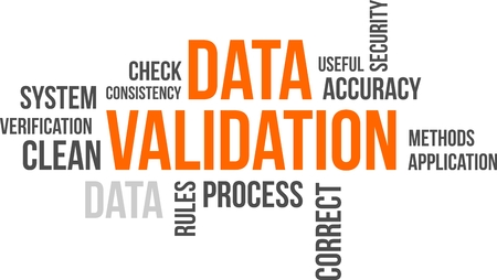A word cloud of data validation related items Vectores