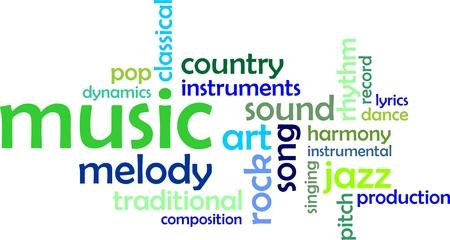letras musicales: Una nube de palabras de objetos relacionados con la música Vectores