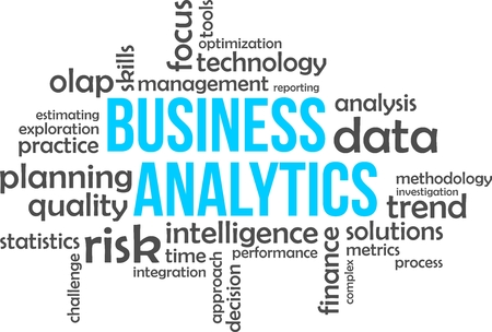 Una nube de palabras de artículos relacionados con análisis de negocios