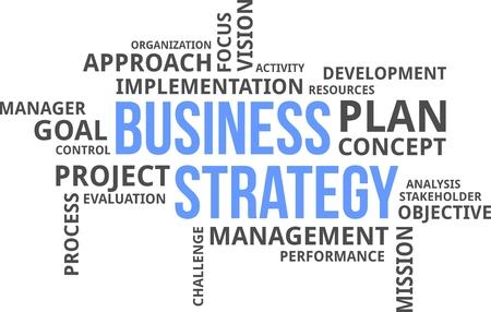 Una nube de palabras de objetos relacionados con la estrategia de negocio