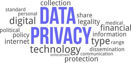 privacidad: Una nube de palabras de objetos relacionados con la privacidad de datos