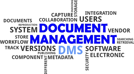 dms: A wrod cloud of document management related items Illustration