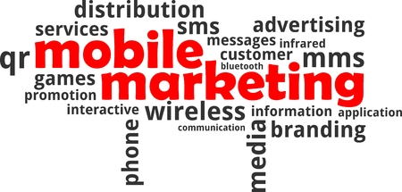 short message service: A word cloud of mobile marketing related items Illustration