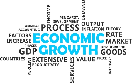economic growth: A wrod cloud of economic growth related items