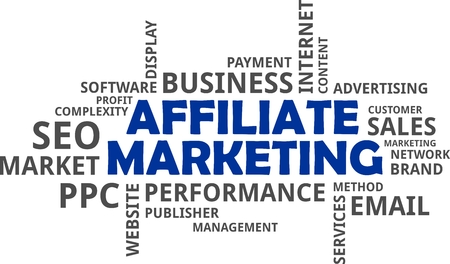 affiliate marketing: A word cloud of affiliate marketing related items Illustration