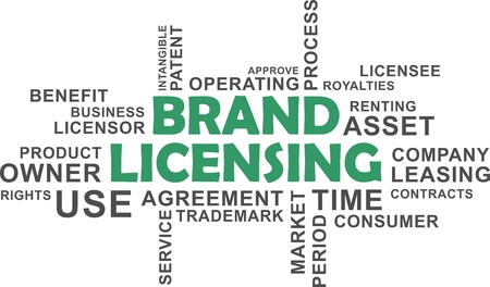 licensing: A wrod cloud of brand licensing related items Illustration