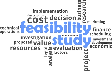 factors: A word cloud of feasibility study related items Illustration