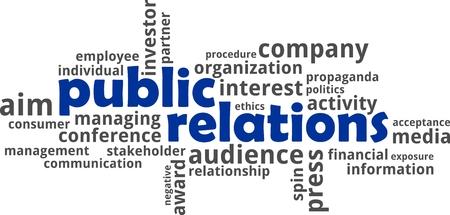 relaciones publicas: Una nube de palabras de objetos relacionados con las relaciones públicas