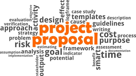 A word cloud of project proposal related items Illustration