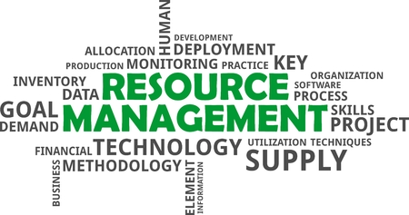 resource: A word cloud of resource management related items Illustration
