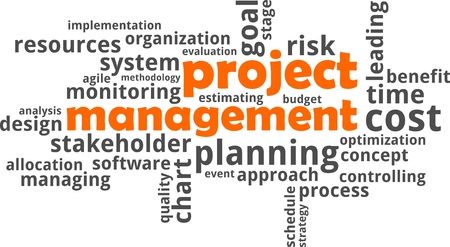estimating: A word cloud of project management related items Illustration