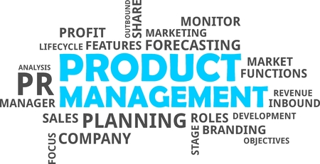 sales manager: A word cloud of product management related items Illustration