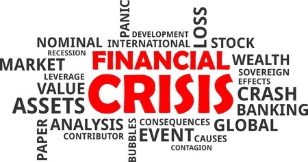 A word cloud of financial crisis related items