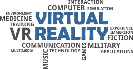 computer simulation: A word cloud of virtual reality related items Illustration