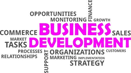 Un nuage de mots d'articles développement des affaires liées