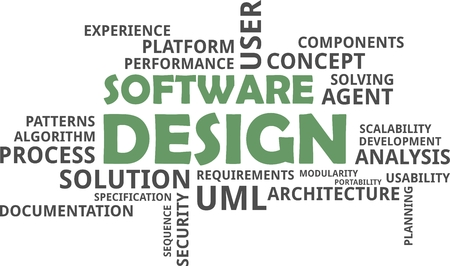 software design: A word cloud of software design related items Illustration