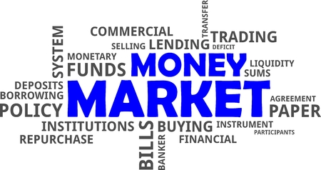 liquidity: A word cloud of money market related items Illustration