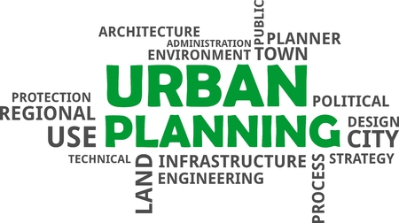 urban planning: A word cloud of urban planning related items. Illustration