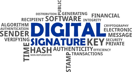 sender: A word cloud of digital signature related items. Illustration
