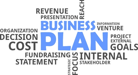 A word cloud of business plan related items Vectores