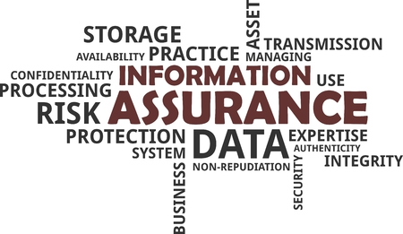 A word cloud of information assurance related items
