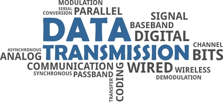 A word cloud of data transmission related items Vectores