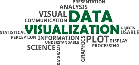 A word cloud of data visualization related items Vectores