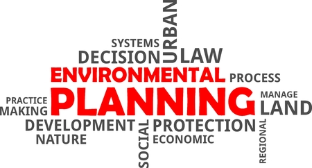 A word cloud of environmental planning related items Vectores