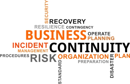 contingency: A word cloud of business continuity related items