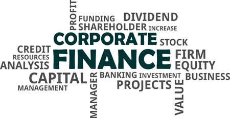 A word cloud of corporate finance related items