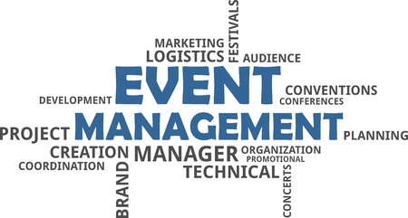 A word cloud of event management related items Vectores