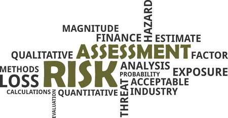 A word cloud of risk assessment related items