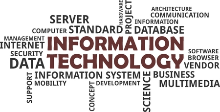 A word cloud of information technology related items Vectores