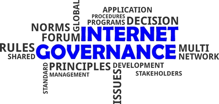 A word cloud of internet governance related items
