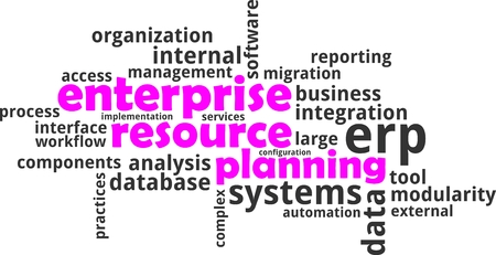 A word cloud of enterprise resource planning related items