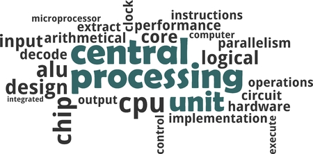 A word cloud of central processing unit related items Vectores