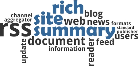 A word cloud of rich site summary related items Vectores